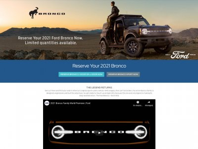 Miniaturka 2021 Ford Bronco website screenshot